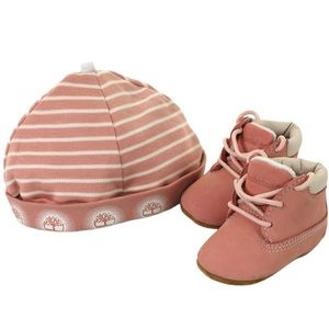 Pink infant Timberland boot and hat set
